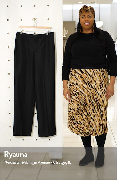 Pinstripe Straight Leg Stretch Wool Trousers, sales video thumbnail