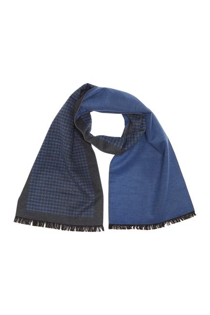 Image of Chelsey Imports Houndstooth Print Scarf With Frayed Hem