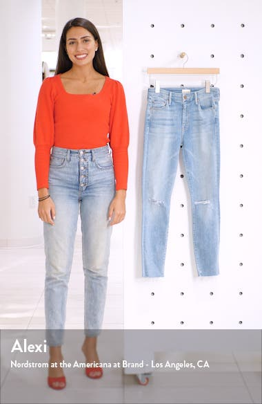 The Looker High Waist Ripped Fray Hem Ankle Skinny Jeans, sales video thumbnail