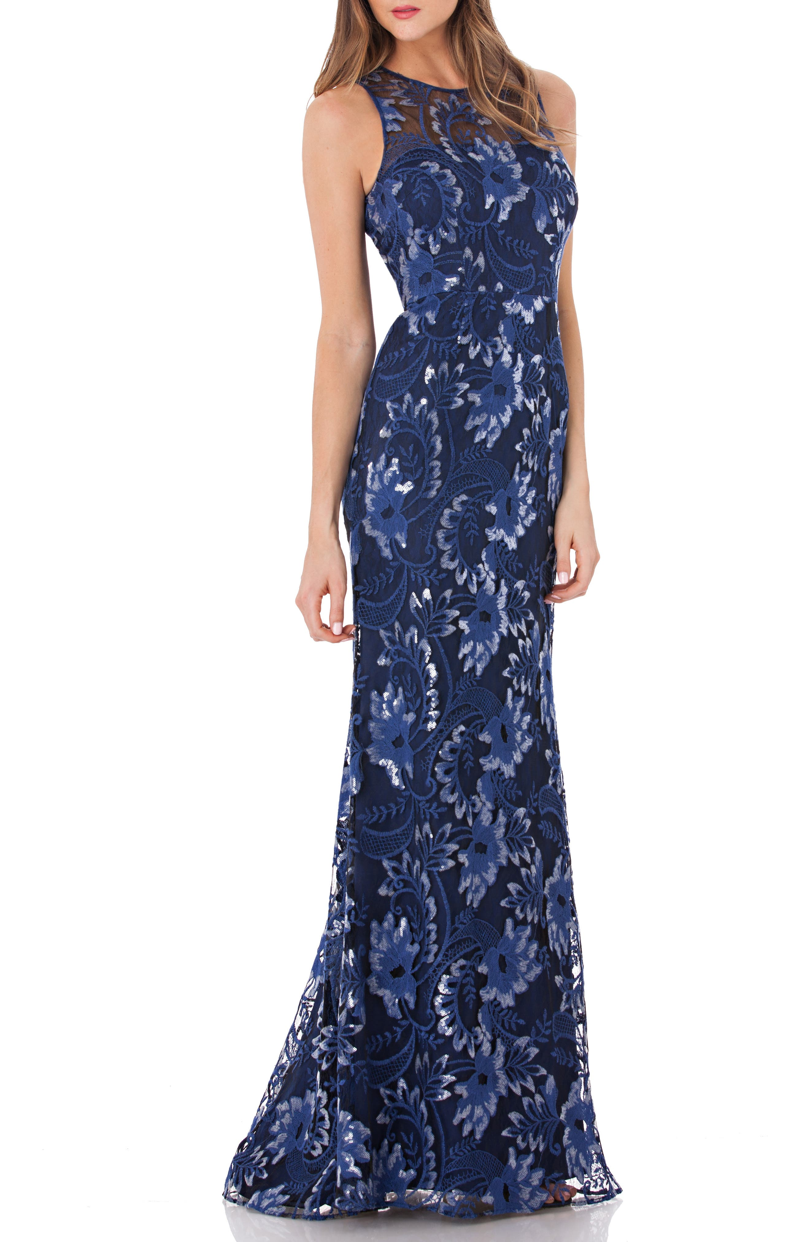 Carmen Marc Valvo Infusion Sequin Embroidered Trumpet Gown, Blue