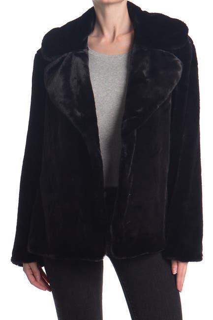 Image of Kensie Notch Collar Faux Fur Coat