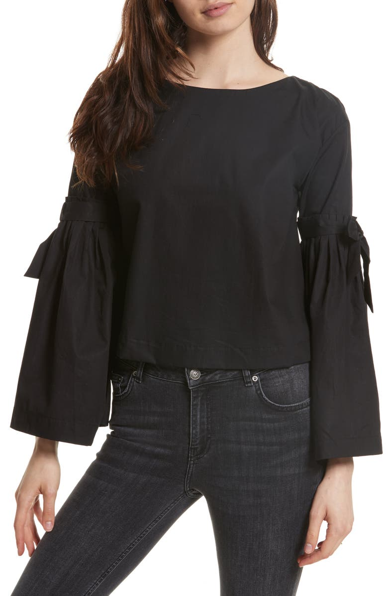 FREE PEOPLE So Obviously Yours Bell Sleeve Top, Main, color, BLACK