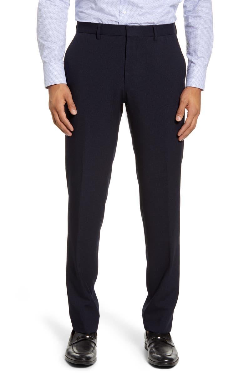 BOSS Gains Flat Front Slim Fit Solid Dress Pants, Main, color, NAVY