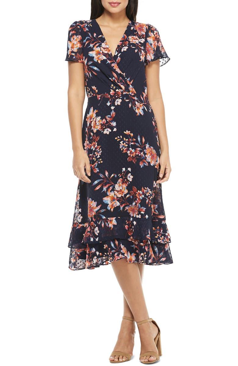 MAGGY LONDON Amelia Floral Print Swiss Dot Midi Dress, Main, color, NAVY/ DARK ORANGE