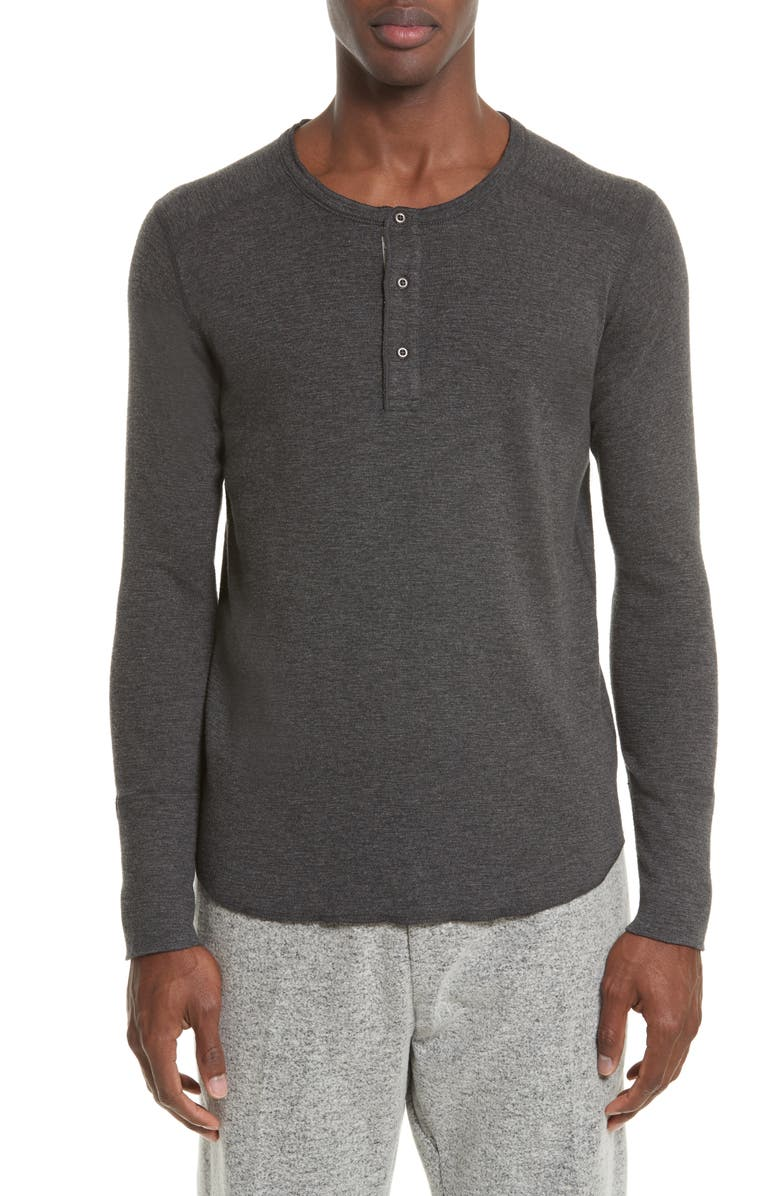 WINGS + HORNS Base Long Sleeve Henley, Main, color, HEATHER CHARCOAL