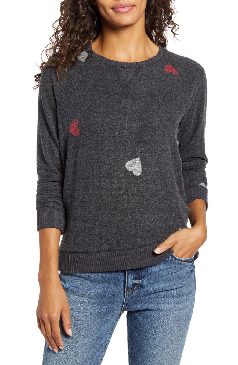 LUCKY BRAND Hearts Hacci Crewneck Long Sleeve Top, Main, color, 030