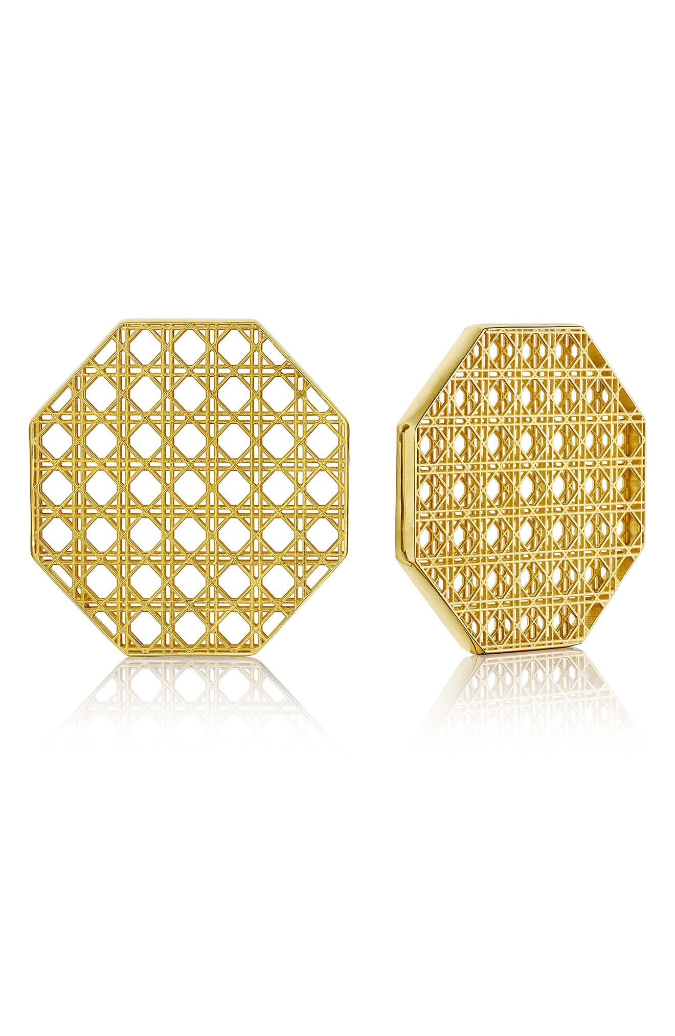 Cane Octagonal Stud Earrings