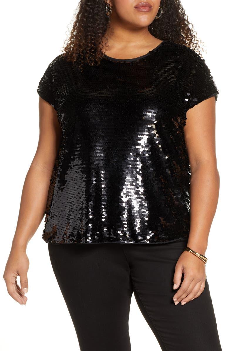 HALOGEN<SUP>®</SUP> Sequin Cap Sleeve Top, Main, color, BLACK