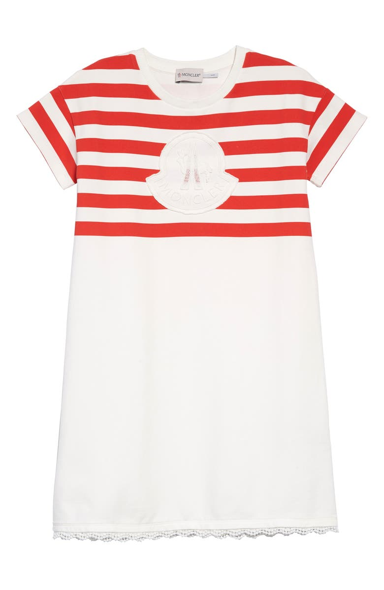 MONCLER Stripe Logo Dress, Main, color, 034 WHITE