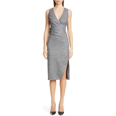 Altuzarra Glen Plaid Pencil Dress, 6 FR - Black