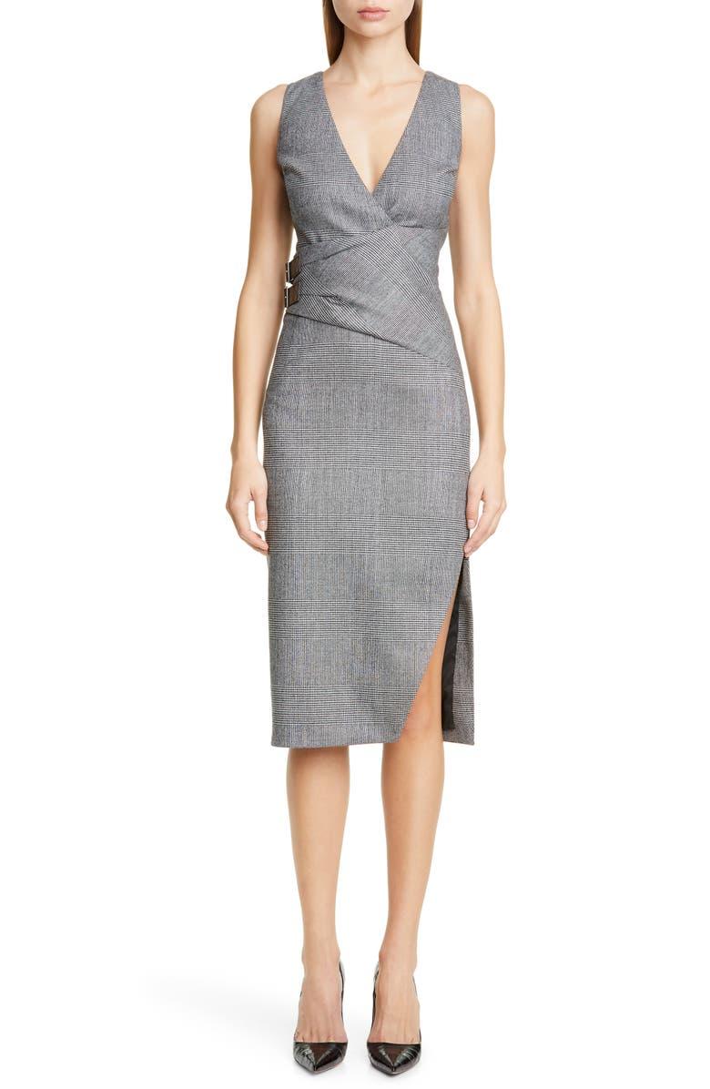 ALTUZARRA Glen Plaid Pencil Dress, Main, color, BLACK / WHITE