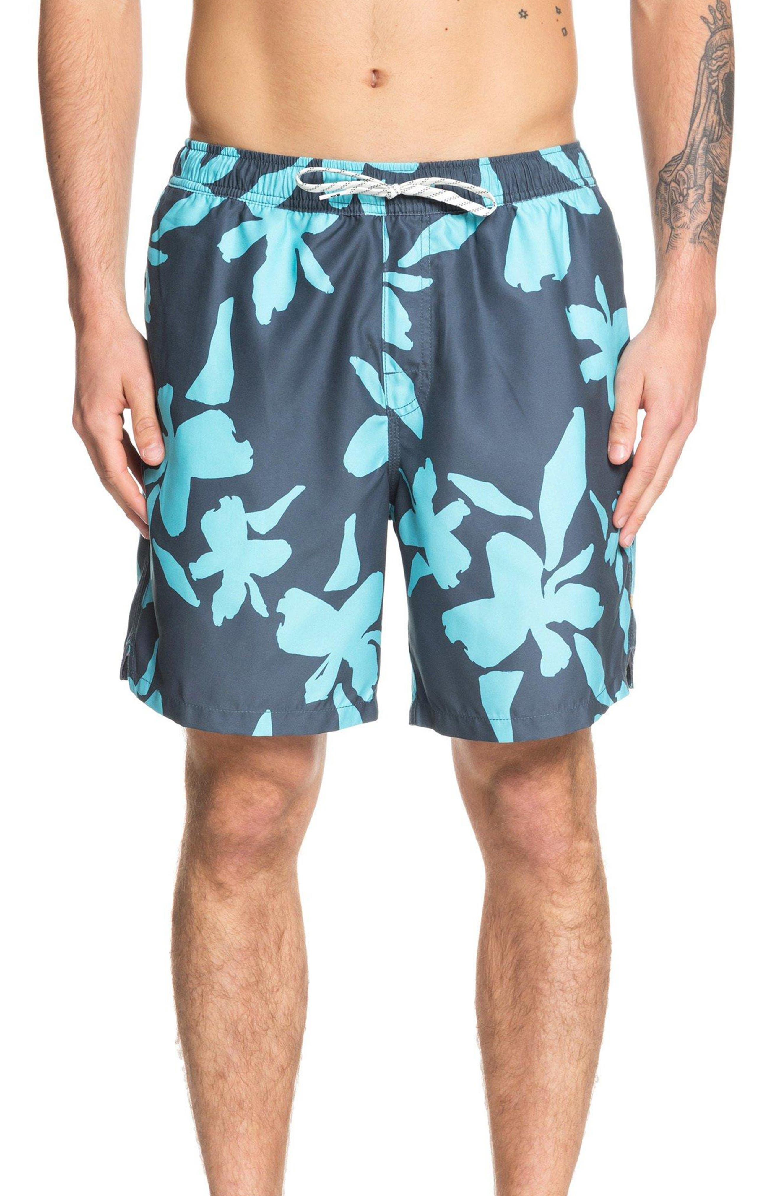 Quiksilver Waterman Collection No Vacancy Volley Swim Trunks, Blue/green