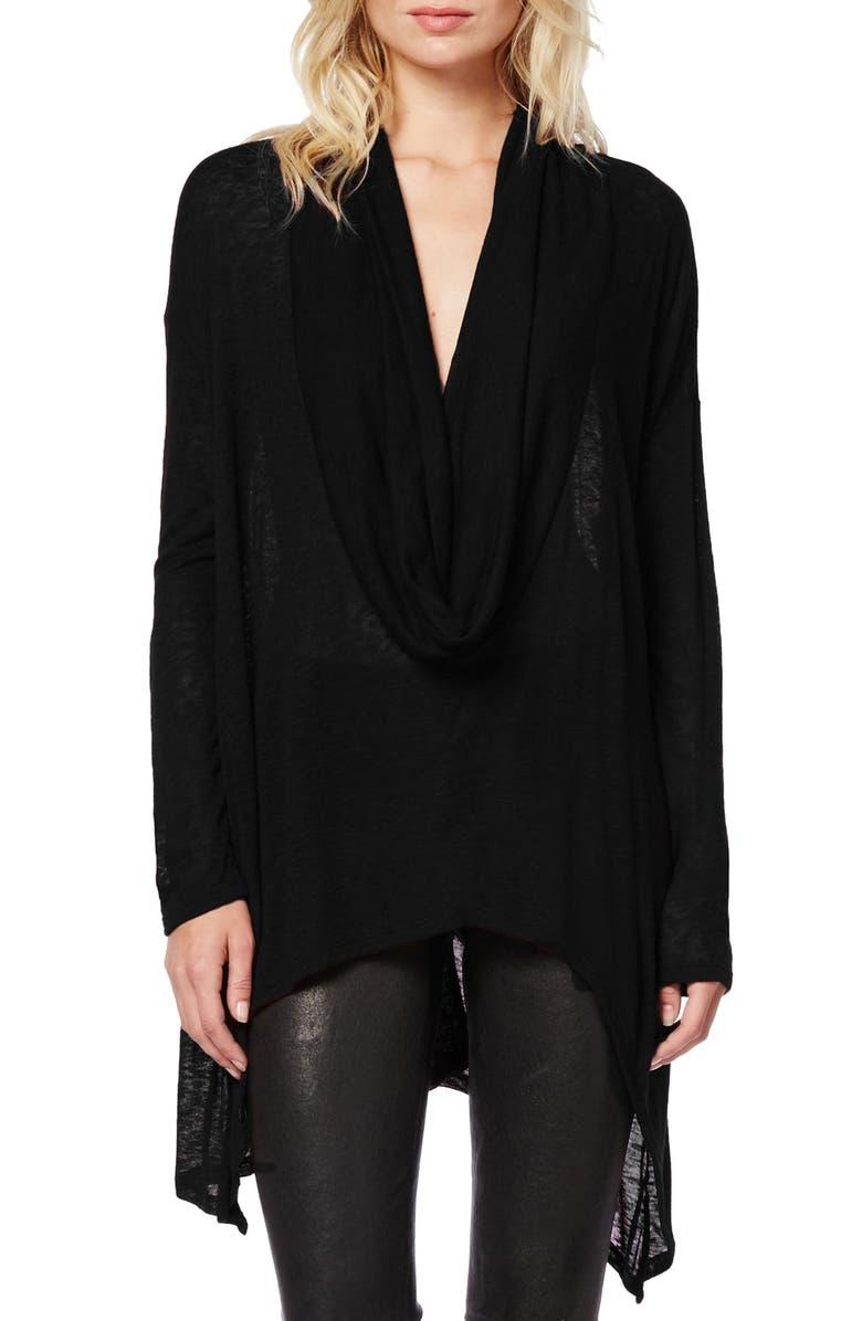MICHAEL STARS Cowl Neck Knit Asymmetrical Hem Top, Main, color, 001