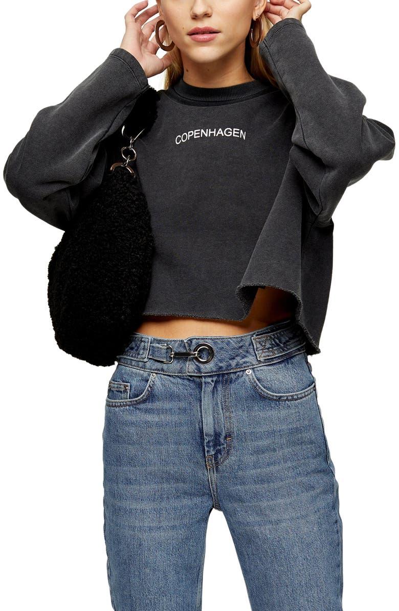 TOPSHOP Copenhagen Raw Hem Sweatshirt, Main, color, CHARCOAL