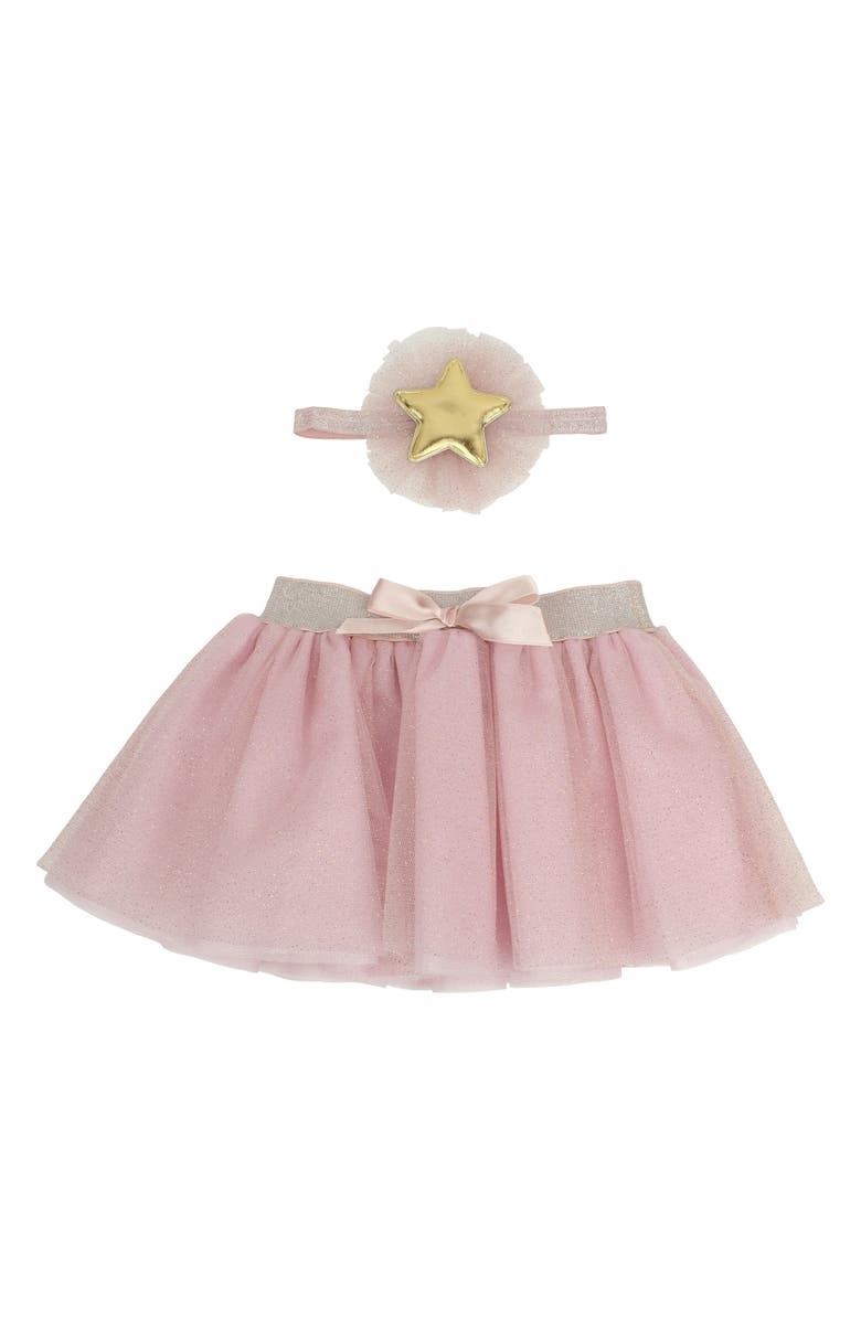 POPATU Star Glitter Tulle Skirt & Head Wrap Set, Main, color, PINK