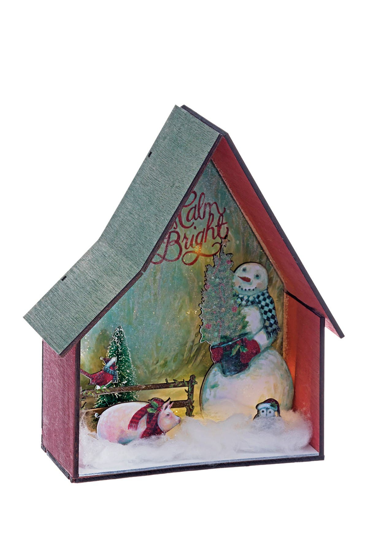 "Image of ALLSTATE 10"" H x 8"" L Battery Operated Snowman with Christmas Tree in Farm House with Light"