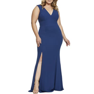 Plus Size Dress The Population Sandra Plunge Gown, Blue