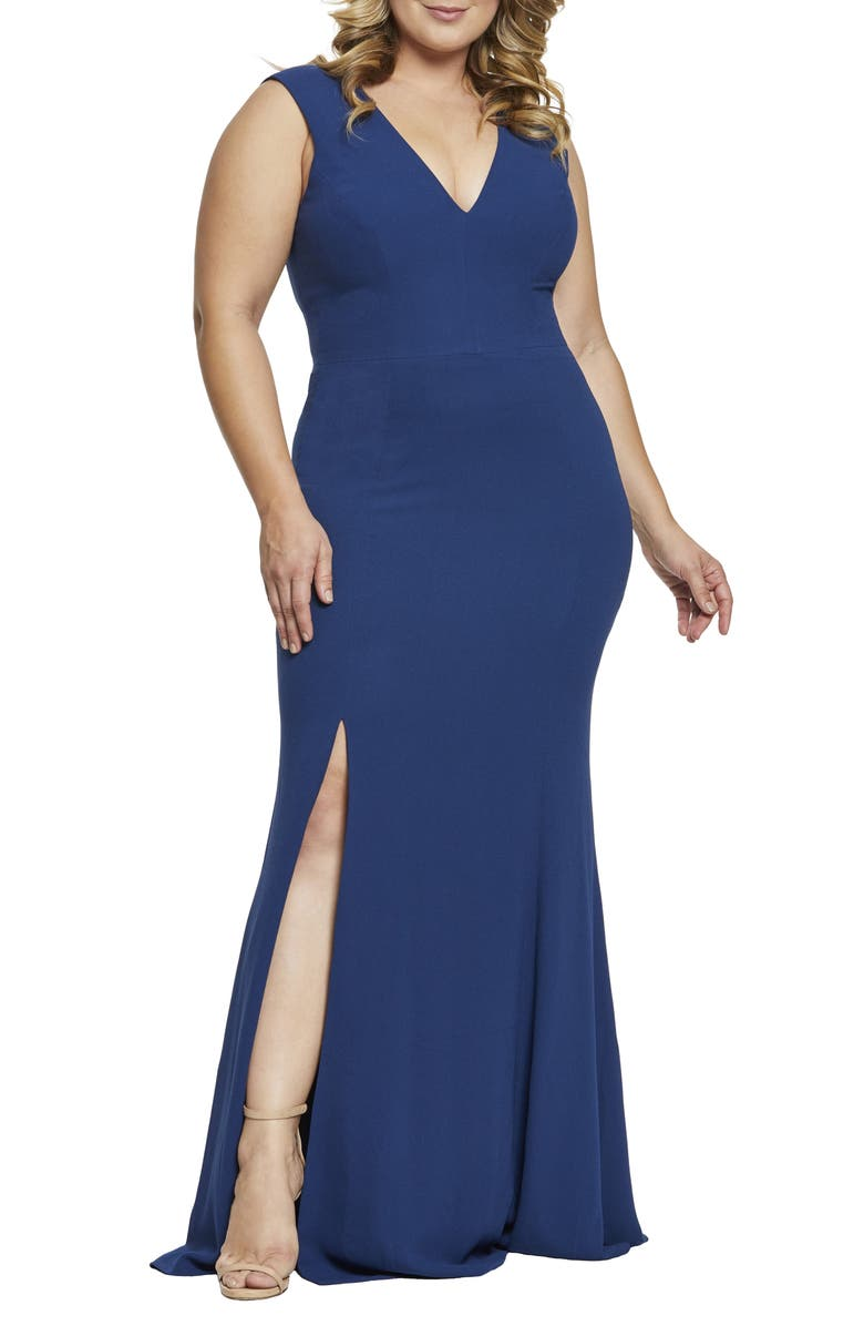 DRESS THE POPULATION Sandra Plunge Gown, Main, color, PACIFIC