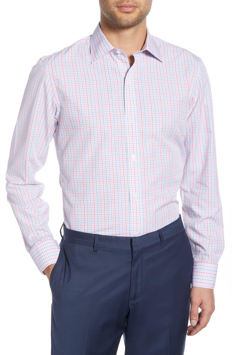 BONOBOS Rancho Slim Fit Plaid Dress Shirt, Main, color, PINK