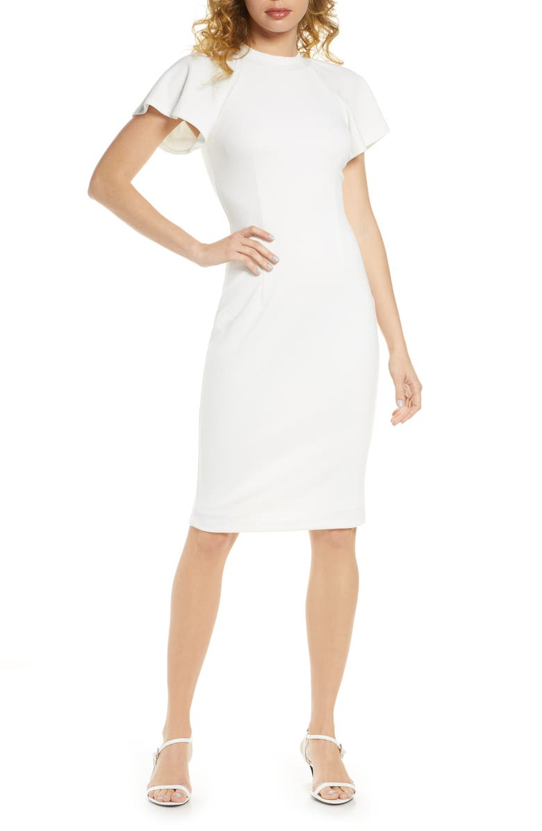ALI & JAY Moonshadows Flutter Sleeve Ribbed Sheath Dress, Main, color, ECRU