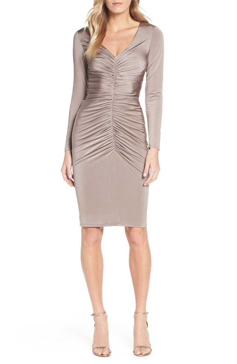 ELIZA J Ruched Long Sleeve Cocktail Sheath, Main, color, TAUPE