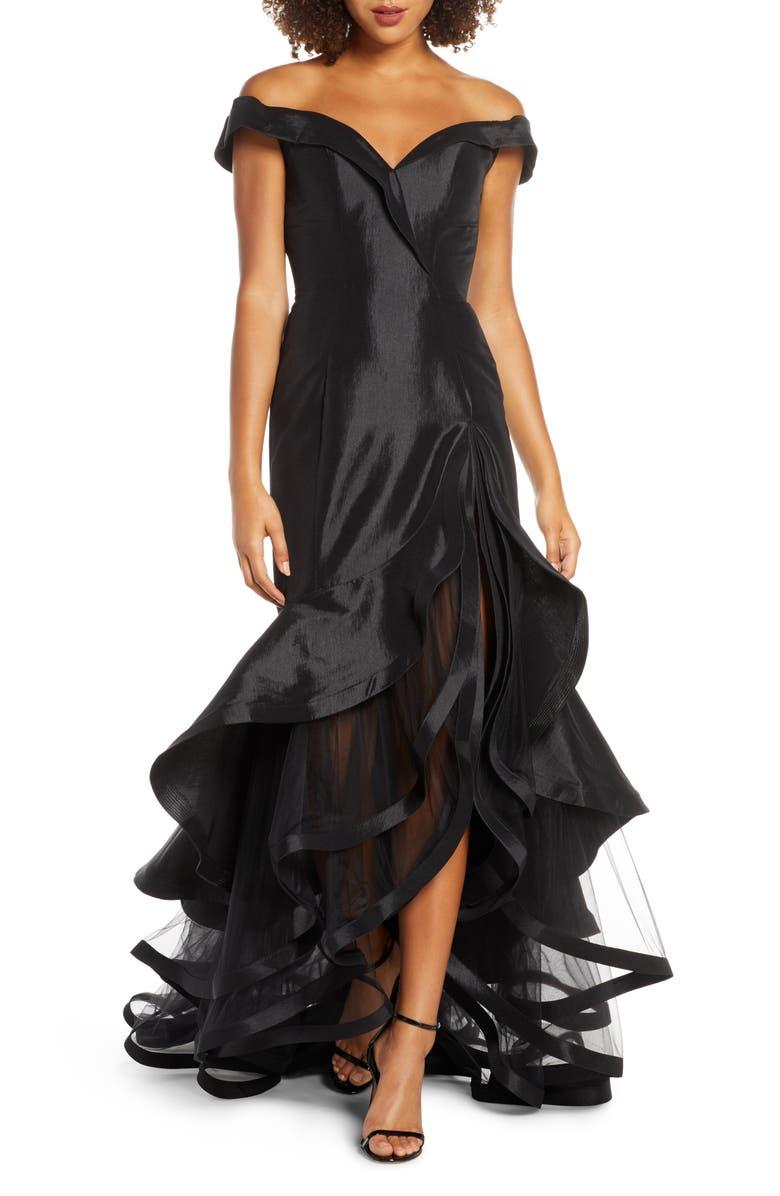 IEENA FOR MAC DUGGAL Hart Portrait Collar Tiered Taffeta Gown, Main, color, BLACK