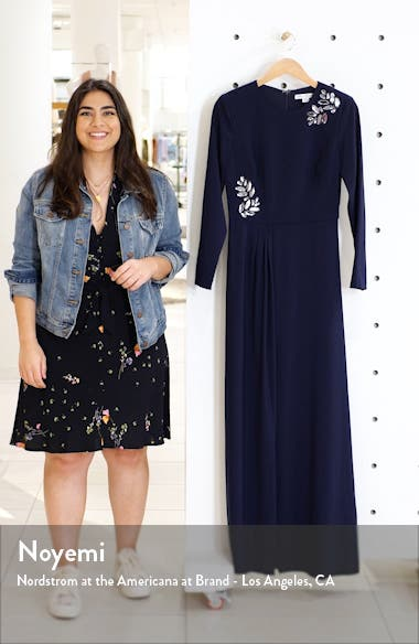 Long Sleeve Stretch Crepe Gown, sales video thumbnail