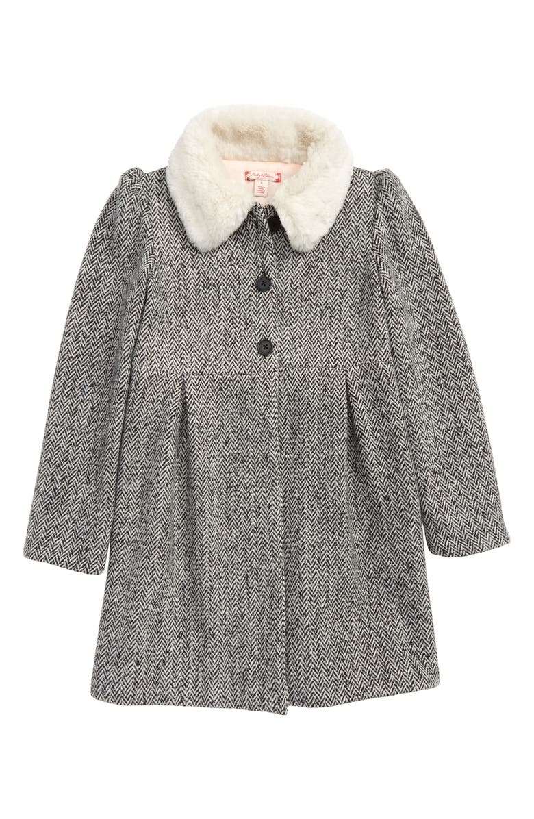 RUBY & BLOOM Cozy Faux Fur Collar Swing Coat, Main, color, BLACK