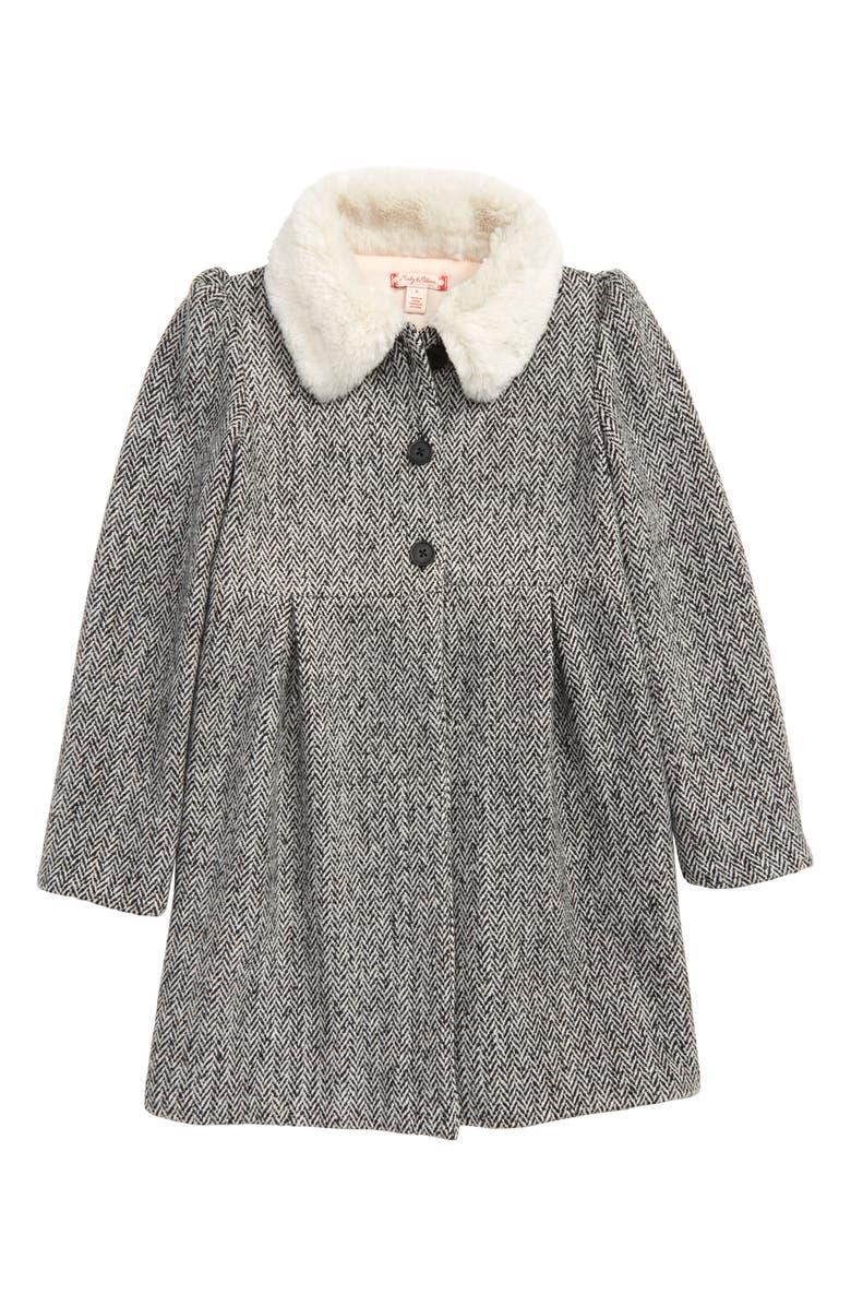 RUBY & BLOOM Cozy Faux Fur Collar Swing Coat, Main, color, 001