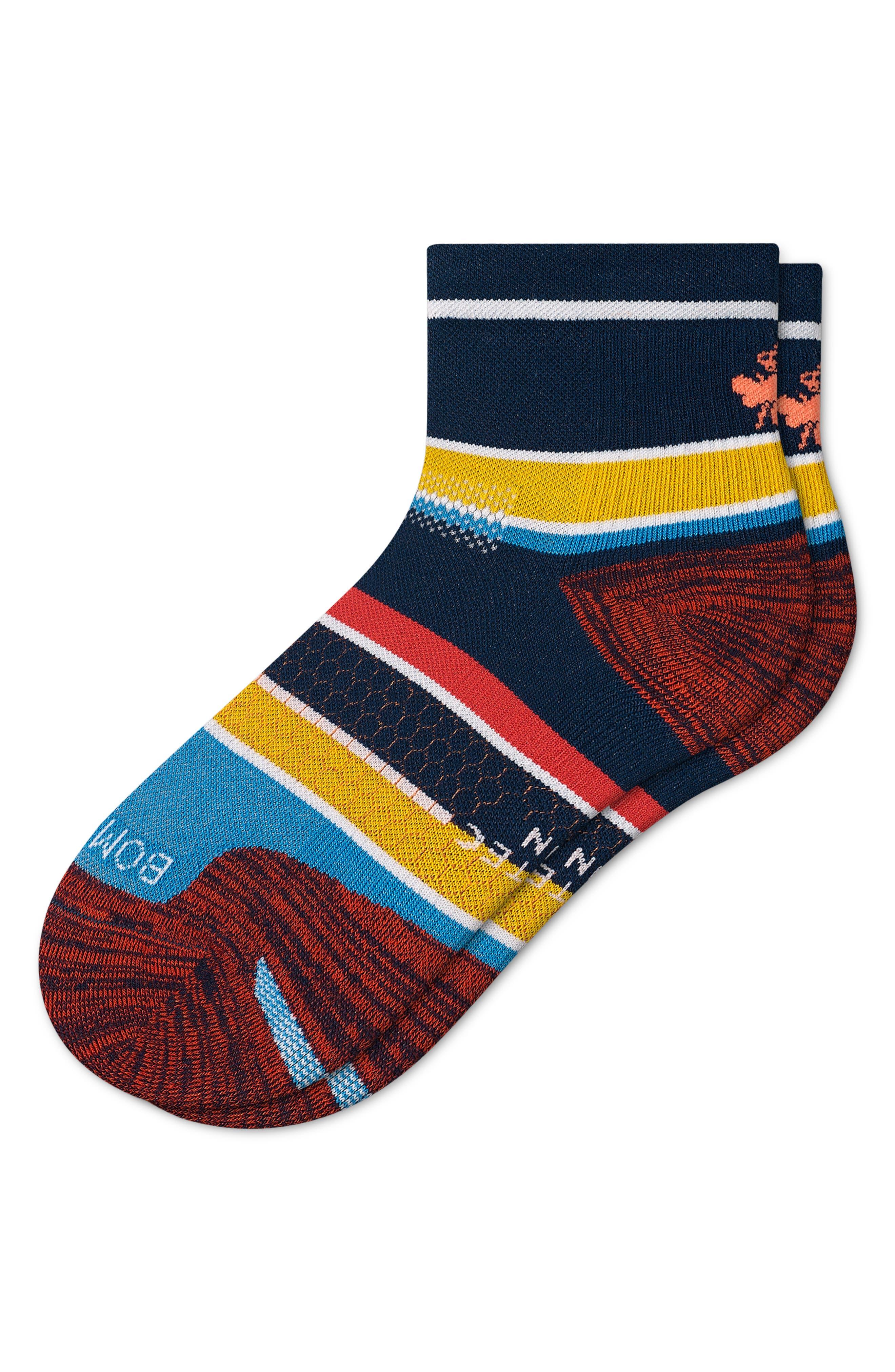 Multistripe Quarter Running Socks