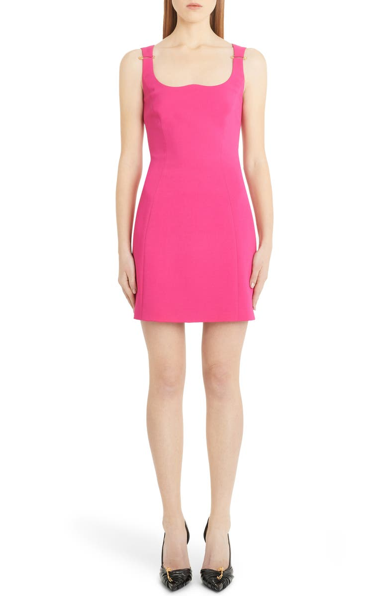 VERSACE Reverse Sweetheart Neck Minidress, Main, color, 650