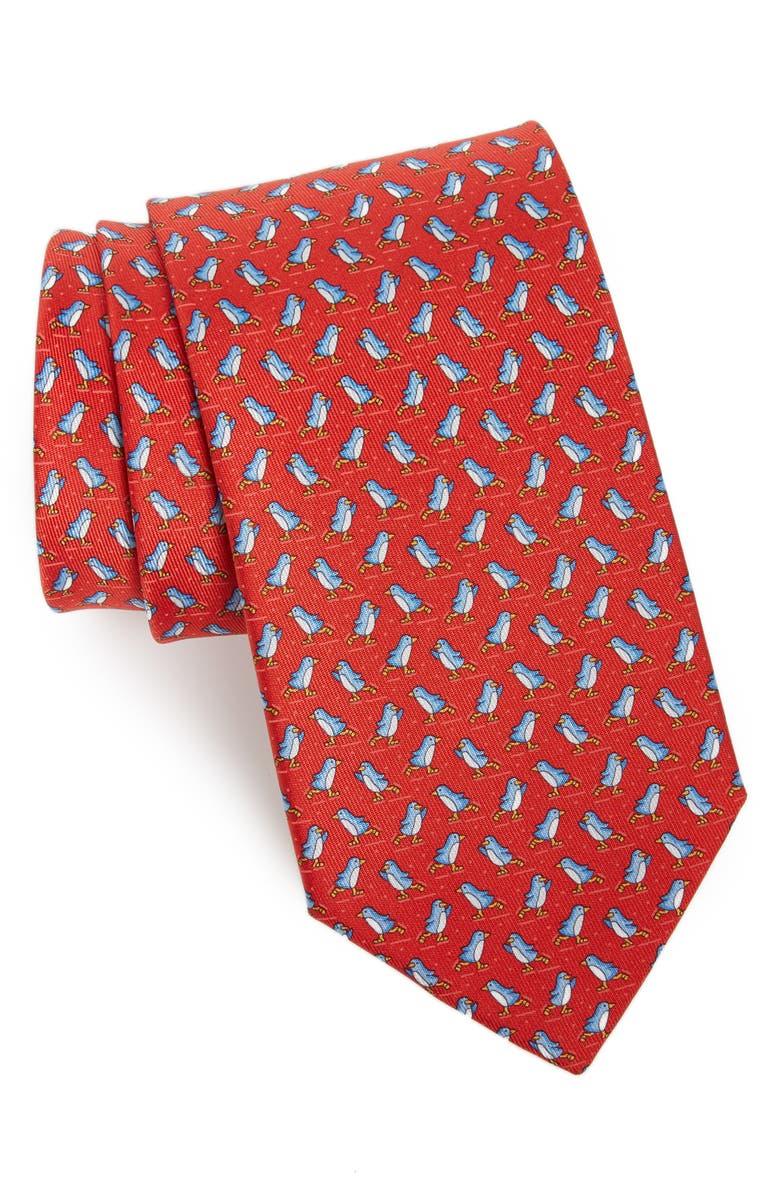 SALVATORE FERRAGAMO Penguin Print Silk Tie, Main, color, F. ROSSO