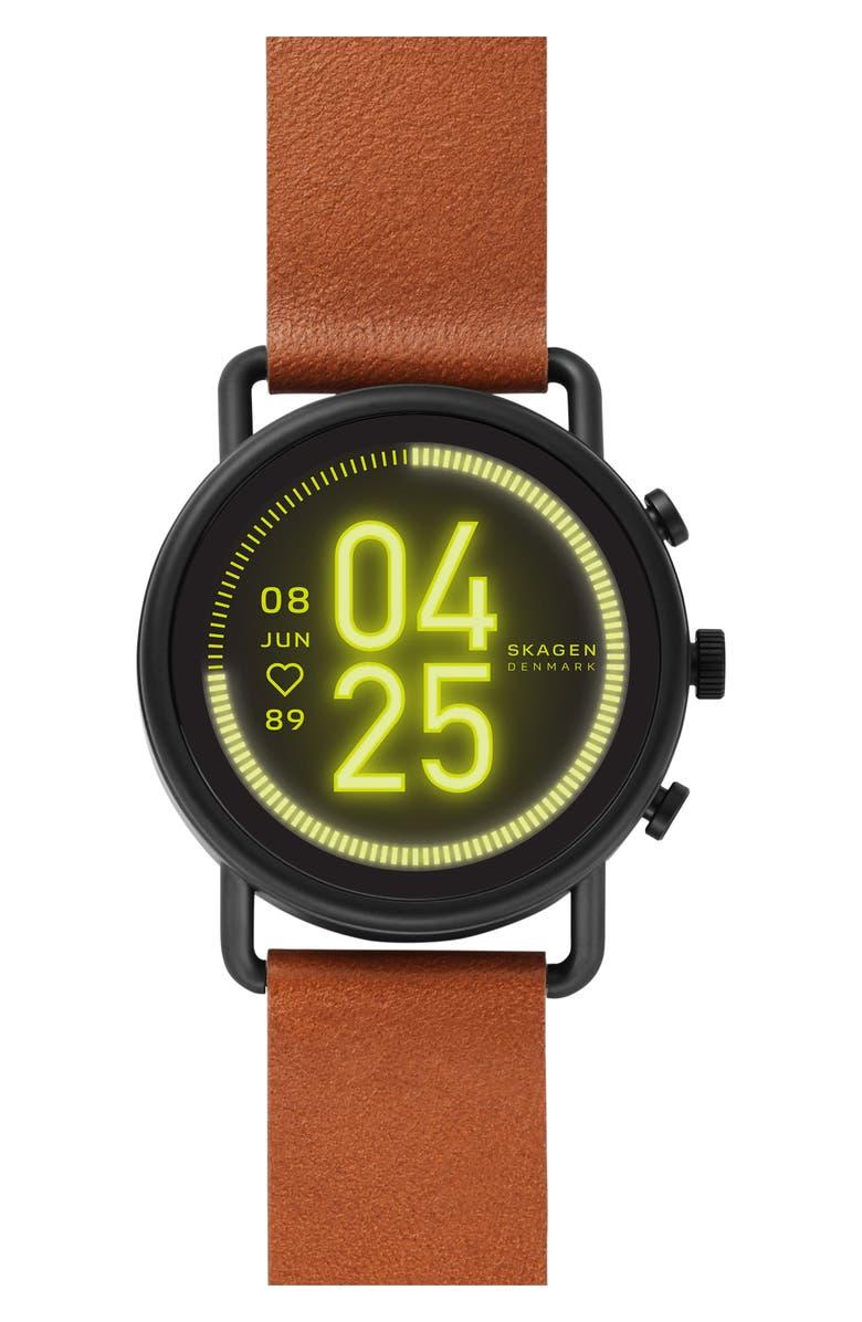 SKAGEN Falster 3 Leather Strap Smart Watch, 42mm, Main, color, BROWN/ BLACK