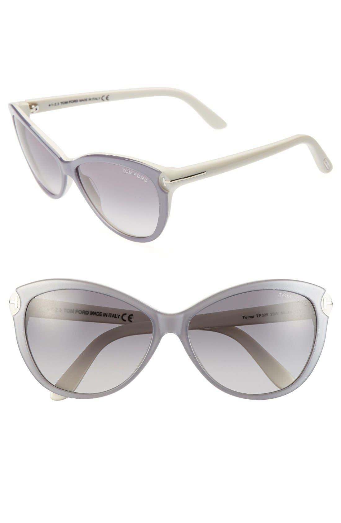 ,                             'Telma' 60mm Cat Eye Sunglasses,                             Main thumbnail 5, color,                             901