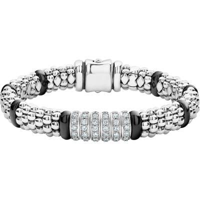 Lagos Black Caviar Diamond 6-Link Bracelet