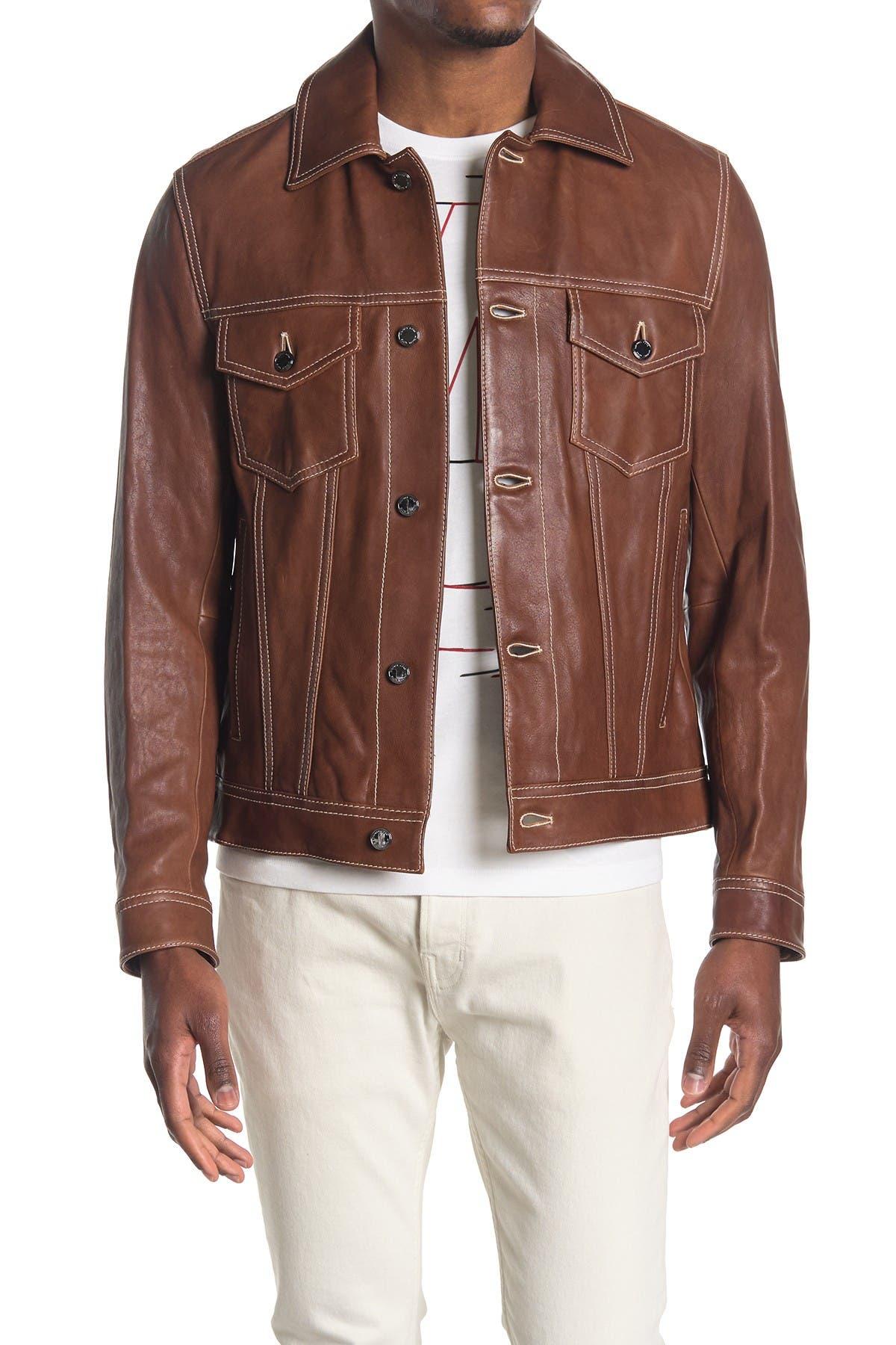 Image of Michael Kors Leather Trucker Jacket