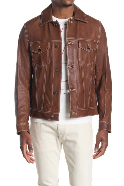 Image of Michael Kors Leather Trucker Jacket