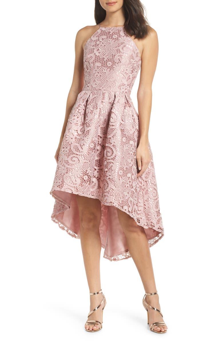 CHI CHI LONDON Lace Dip High/Low Dress, Main, color, MINK