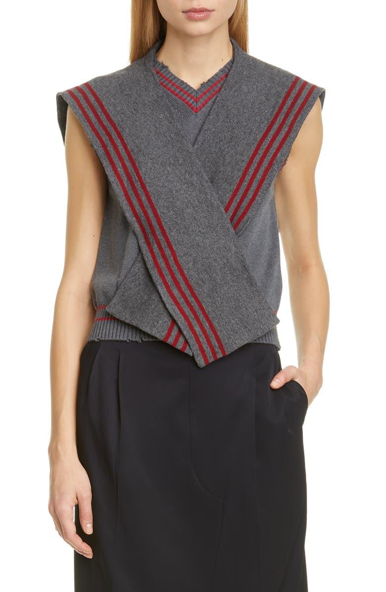 MAISON MARGIELA Ripped Pullover Vest, Main, color, 859F GREY LIPSTICK STRIPES