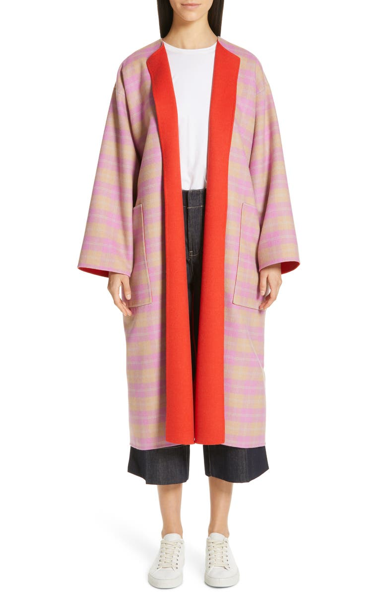 SOFIE D'HOORE Charlie Reversible Check Wool Coat, Main, color, 650