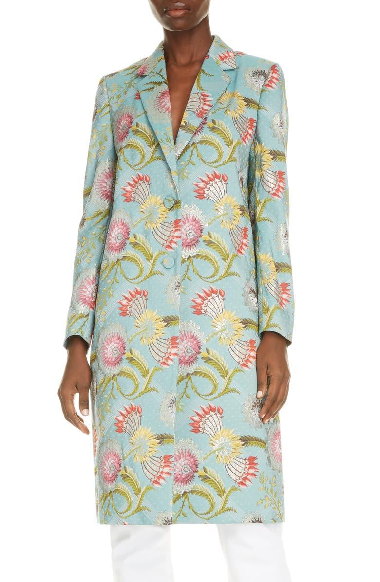 DRIES VAN NOTEN Richy Floral Metallic Silk Blend Coat, Main, color, AQUA