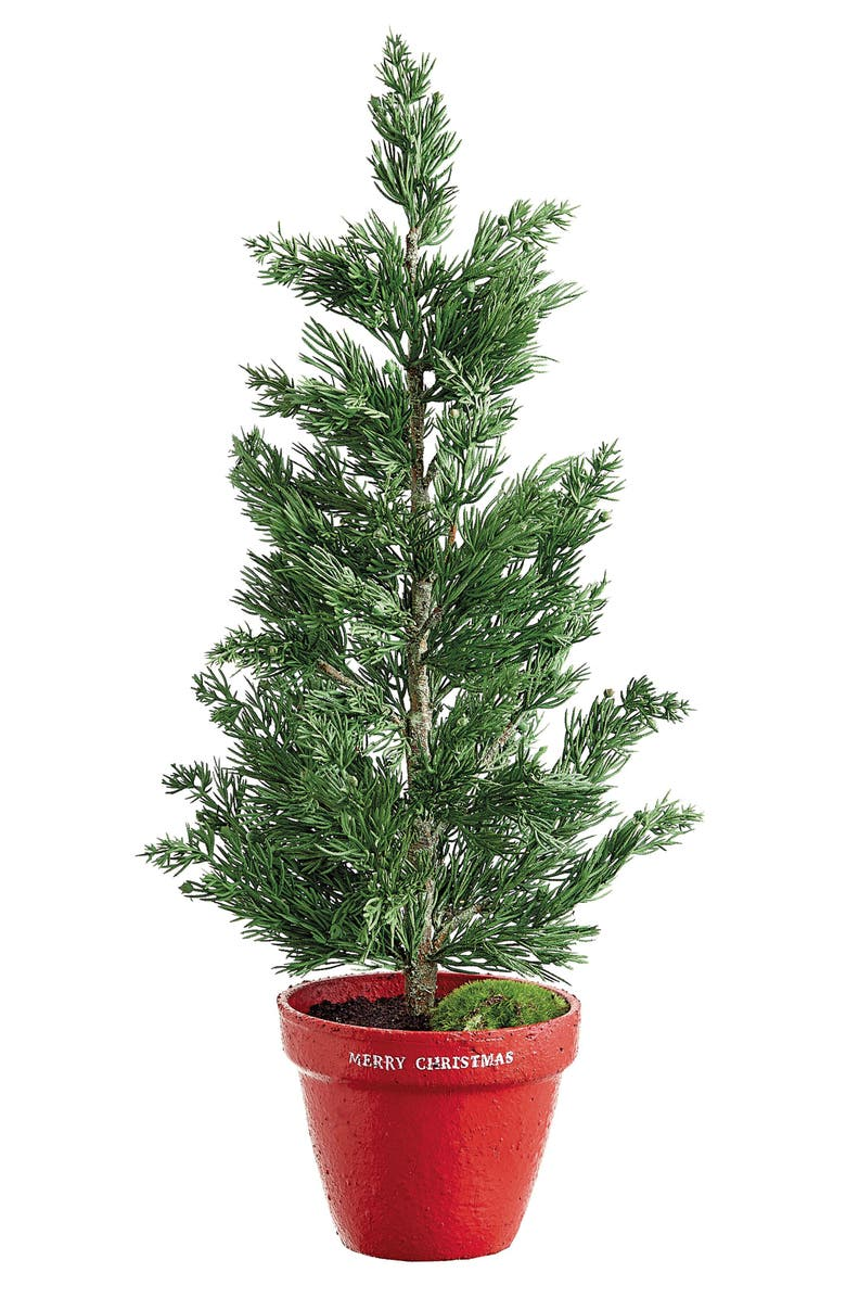 ALLSTATE Faux Pine Tree in Cement Planter, Main, color, GREEN