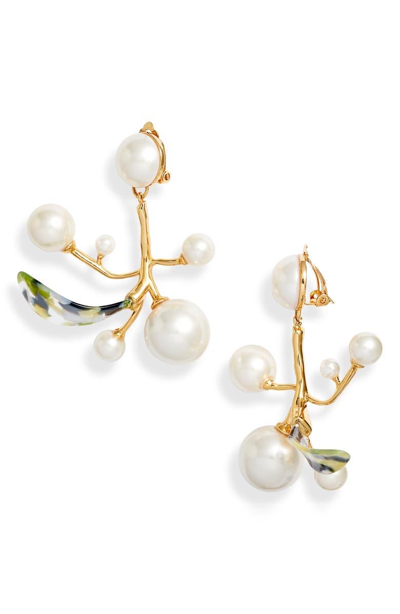 LELE SADOUGHI Beanstalk Clip-On Chandelier Earrings, Main, color, PEARL