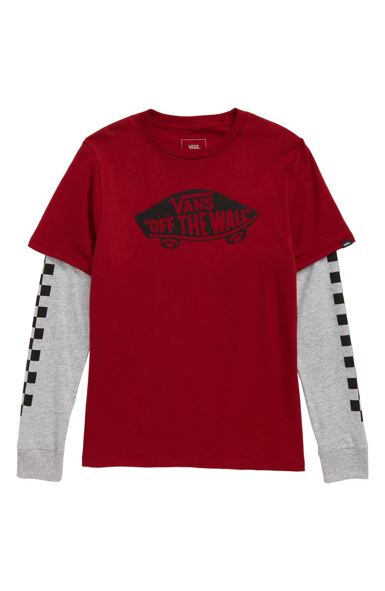 VANS Off the Wall Twofer Layered T-Shirt, Main, color, BIKING RED