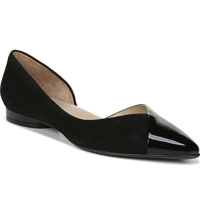 NATURALIZER Hayden Half d'Orsay Flat, Main, color, BLACK SUEDE AND PATENT LEATHER