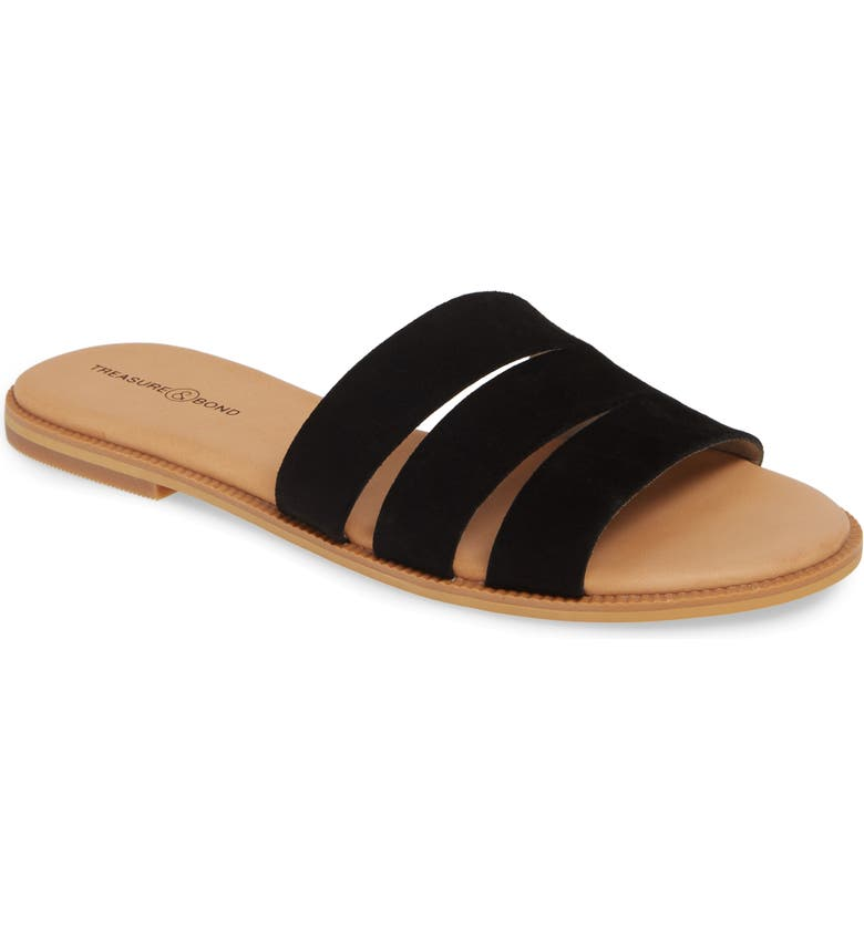 TREASURE & BOND Miles Slide Sandal, Main, color, BLACK SUEDE