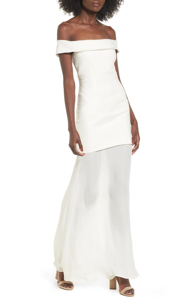 STONE COLD FOX Fairview Off the Shoulder Gown, Main, color, 100