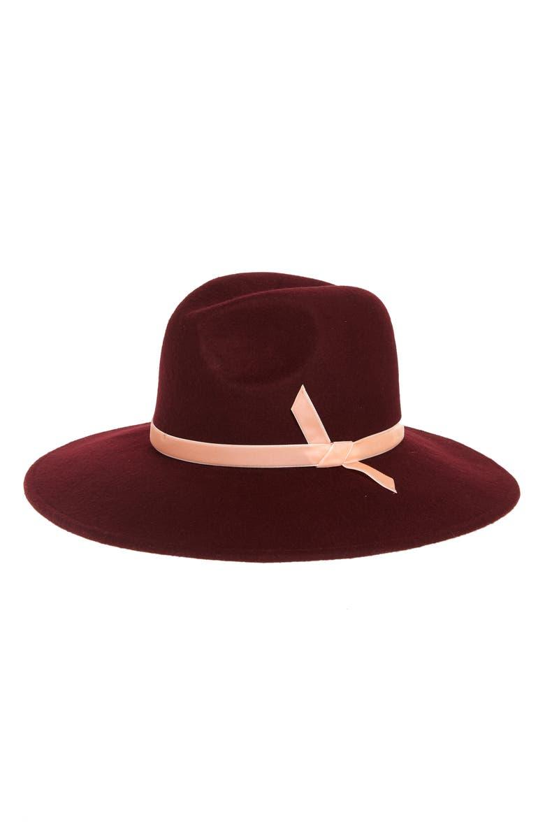 RACHEL PARCELL Velvet Trim Felted Wool Panama Hat, Main, color, BURGUNDY DARK COMBO