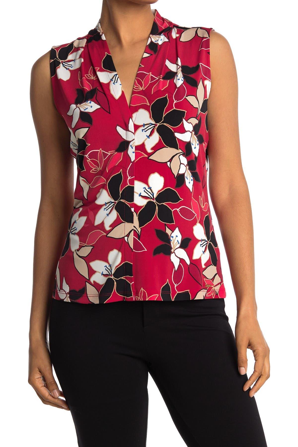 Image of Calvin Klein Split Neck Sleeveless Blouse