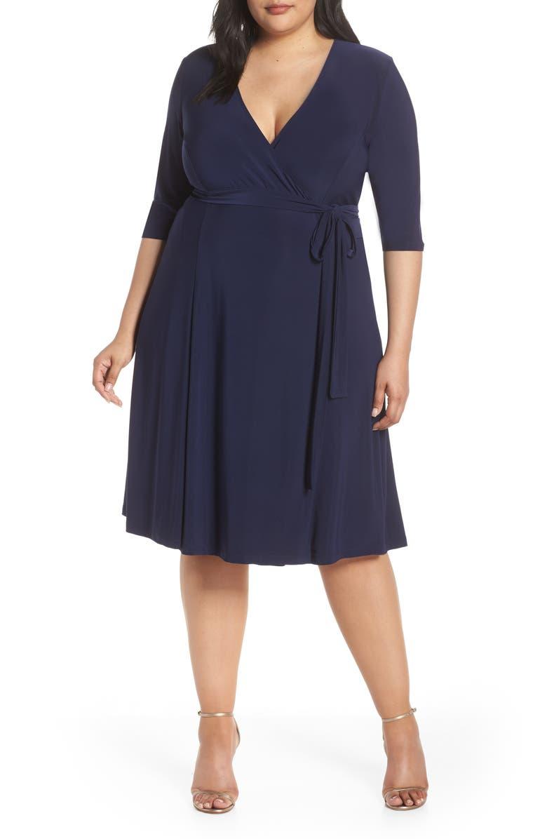 KIYONNA Essential Wrap Dress, Main, color, NOUVEAU NAVY